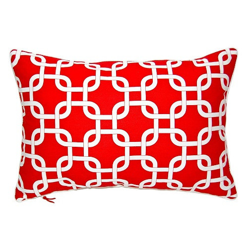 Lattice Cushion - Lipstick Red
