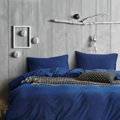 Cotton Denim 4-Pc Bedding Set - Denim Blue