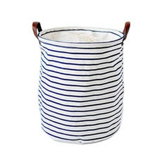 Drawstring Navy Stripes Laundry Basket