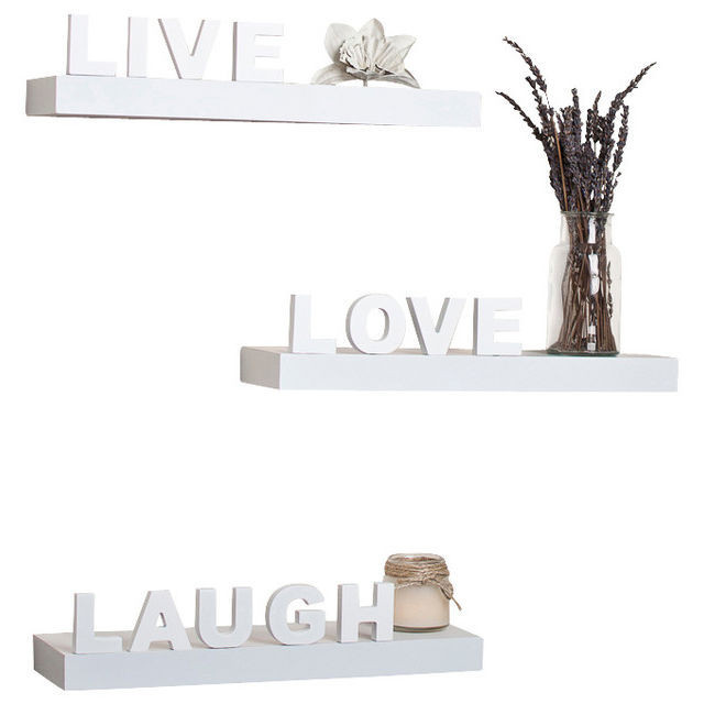 Set of 3 Live, Love, Laugh Wall Shelves - White