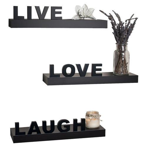 Set of 3 Live, Love, Laugh Wall Shelves - Black